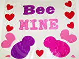 Valentine Reusable Gel Window Clings ~ Bee Couple, Bee Mine (20 Clings, 1 Sheet)