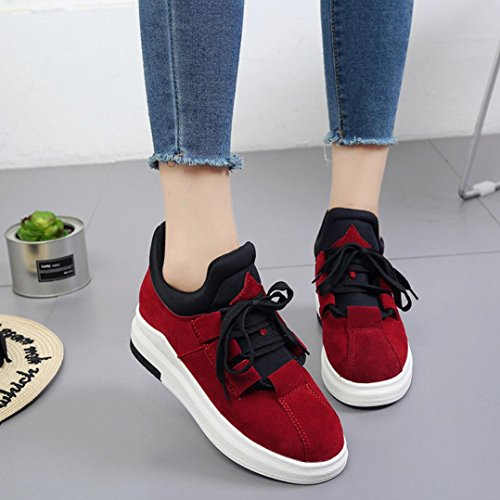 Platform Gym Students Shoes Casual Women Autumn Winter Flat Shoes Thick Breathable Bovake Trainers soled Sneakers Jogging Spring Lightweight Sneakers Running Red Casual Wild Running Fitness 6qwYWH