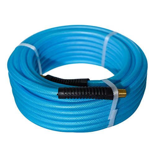 Maxaline Air Hose, 1/4in.x 50ft,1/4in. MNPT fittings,300 PSI,Heavy Duty, Lightweight, Non-Kinking Hybrid Polymer & PU Compressor Hose,300 PSI Blue by Maxaline
