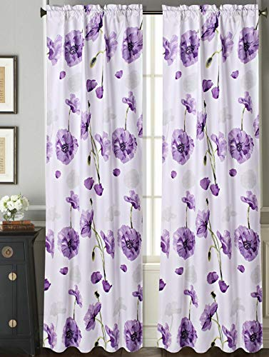 (GorgeousHome (DR#2) Rod Pocket Floral Print Faux Silk Blackout Lined Window Dressing Curtain Panel Valance Treatment in (Purple, 1PC Panel 37