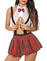 Schoolgirl Lingerie Set for Women Role Play Suspender Mini Plaid Skirt Costume