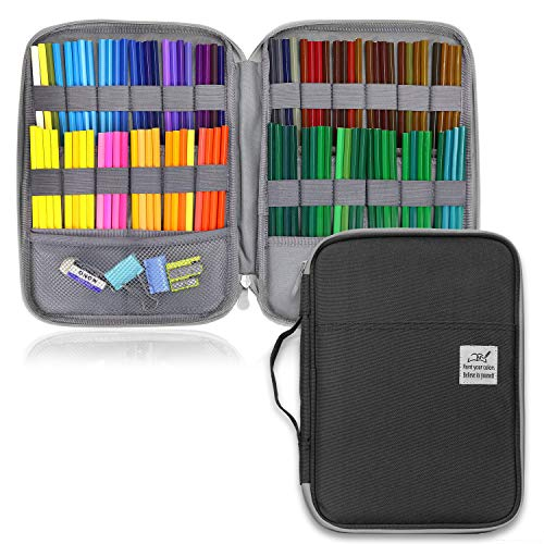 YOUSHARES 96 Slots Colored Pencil Case, Large Capacity Pencil Holder Pen Organizer Bag with Zipper for Prismacolor Watercolor Coloring Pencils, Gel Pens & Markers for Student & Artist (Black)