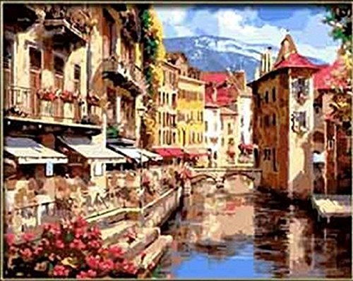 KOTWDQ Seaside Castle Florence Amorous Feelings-DIY Painting by Number kit Art Hand Made Abstract Wall Decor Oil Picture Canvas 16x20 inch(Framed) Without Frame D1005737