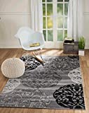 """Summit S45 New Grey Black Transitional Area Rug Modern Abstract Rug (8'X11′ ACTUAL SIZE IS 7′.4""""X10′.6"""") For Sale"""