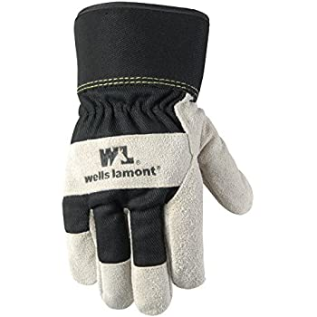 Men's Winter Work Gloves with Leather Palm, 100-gram
