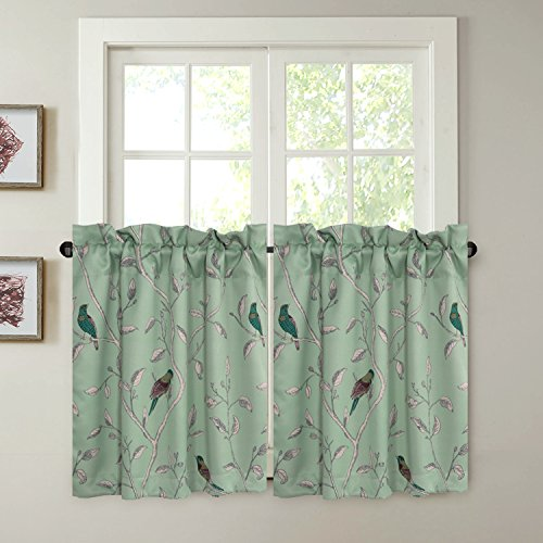 H.VERSAILTEX Ultra Soft Textured Woven Kitchen Curtains Rod Pocket Window Curtain Tiers for Café/Bath/Laundry/Bedroom - Sage Green Base with Turquoise Birds - (58