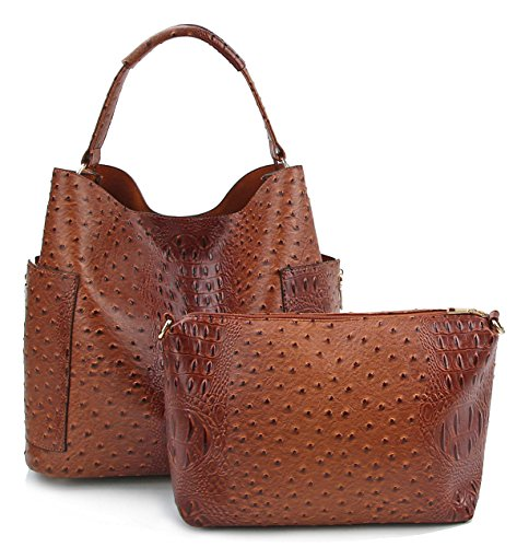 Le Miel Ostrich Embossed Side Pocket Tote w/Pull-out Crossbody (Cognac)