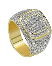Men's Gold Plated ring with zircon stone & silver sides - size US 9