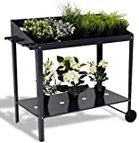 K&A Company Garden Bed Planter Raised Vegetable Flower Elevated Box Kit Grow Patio Outdoor Gardening Wooden Plant 40''