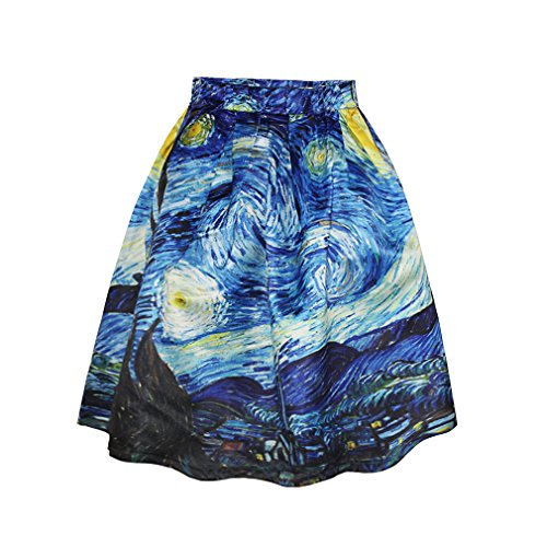Ziooer Elastic Waistband Digital Print Flared Pleated Casual Skirt Starry Night  S M