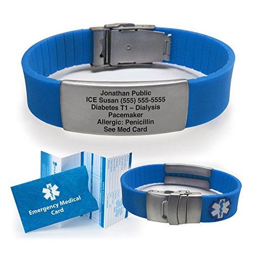 Silicone Sport Medical Alert ID Bracelet - Blue (Incl. 5 Lines of Custom Engraving). Choose Your Color! - ()