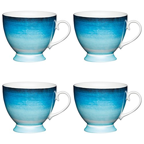 Kitchen Craft Large Bone China 'Ombre Stripe' Footed Watercolour-Style Printed Mugs, 400 ml - Blue (Set of 4)
