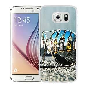 NEW Unique Custom Designed Samsung Galaxy S6 Phone Case With Sunglasses Whiskey Bottles Reflection_White Phone Case wangjiang maoyi