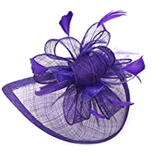 Women Feather Hair Hook Fascinator Hair Hat for Wedding