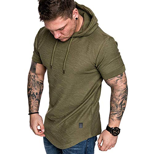 2019 Newest Short Sleeve T-Shirt for Mens Casual Slim Fit Hoodie Top Summer Boy O-Neck Pleats Raglan Cotton Blouse