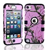 Lantier For iPod Touch 5th Case,Plastic 3 Layer TUFF Hard Cover Camo Triple Hybrid Silicone Quakeproof Drop Resistance Protective Shell Case for iPod Touch 5 5th Generation with Screen Protector and Stylus Pen Pink Branch/Black