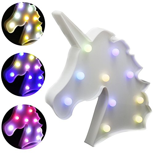 AIZESI Unicorn Shaped Animal Light Table Lamp 3D Marquee Unicorn Sign Marquee Letter Nightlight Home Decoration Battery Operated (Rainbow Unicorn-buy AIZESI) (Table Animal Decor Lamps)