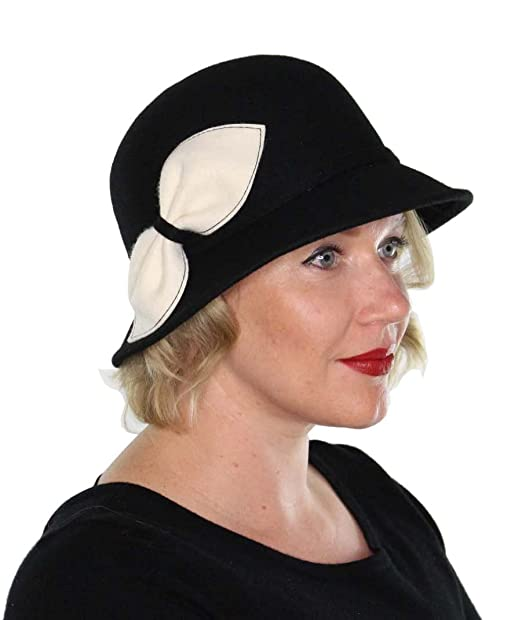 1920s Style Hats Myra Wool Bucket Hat with Bow Vintage Cloche Flapper Tea Party Derby Church $23.99 AT vintagedancer.com