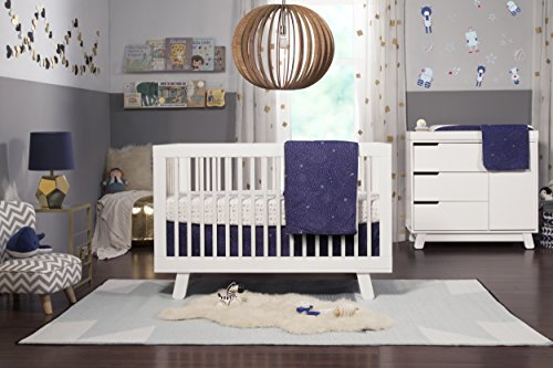 - Babyletto 5-Piece Nursery Crib Bedding Set, Fitted Crib Sheet, Crib Skirt, Play Blanket, Contour Changing Pad Cover & Wall Decals, Galaxy