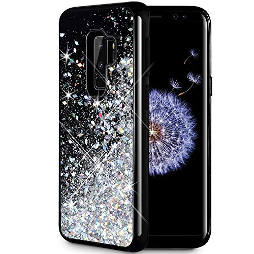 Caka Galaxy S9 Plus Case, Galaxy S9 Plus Glitter Case Starry Night Series Luxury Fashion Bling Flowing Liquid Floating Sparkle Glitter Girly Soft TPU Case for Samsung Galaxy S9 Plus (Silver)