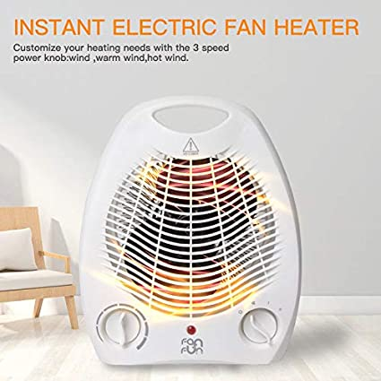 Portable Electric Space Heater 800W 3 Settings Fan Forced Adjustable Thermostat