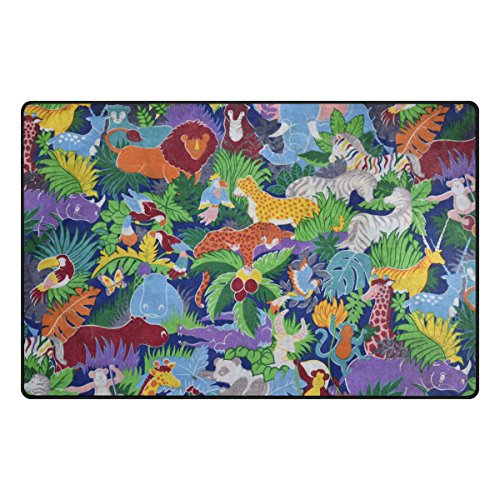 YZGO Animated Animals Zoo - Kids Children Area Rugs Non-Slip Floor Mat Resting Area Doormats