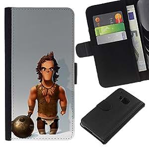 iBinBang / Flip Funda de Cuero Case Cover - Caveman Club Snow Muscles - HTC One M9