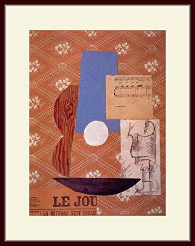 ピカソ「ギター、楽譜、グラス」 プリキャンバス複製画 額付き(デッサン額/大衣サイズ) B00PFZ1A9A