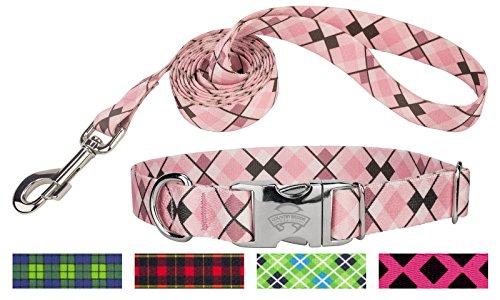 Country Brook Design | Pink and Brown Argyle Premium Collar & Leash - Medium