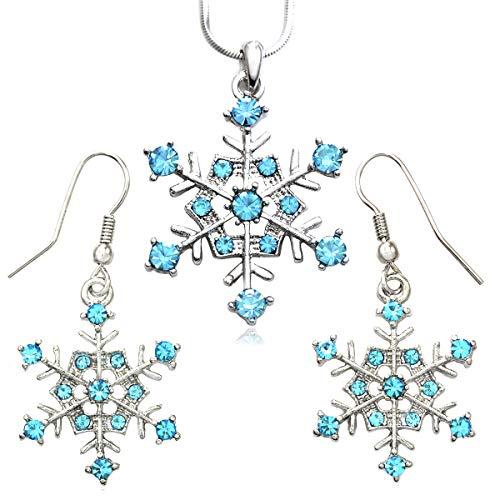 Soulbreezecollection Winter Snowflake Pendant Necklace Earrings Bridal Wedding Bridesmaid Prom Set (Aqua) (Winter Earrings Snowflake)
