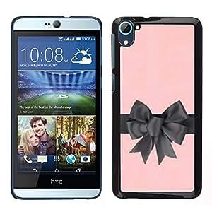 Arco de regalo de satén de seda rosa gris Envoltura - Metal de aluminio y de plástico duro Caja del teléfono - Negro - HTC Desire D826