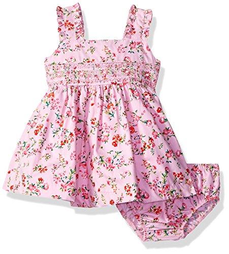 Bonnie Baby Baby Girls Smocked Waist Dress, Bright Pink, 3-6 (Baby Girl Smocked Dresses)