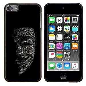 EJOOY---Cubierta de la caja de protección para la piel dura ** Apple iPod Touch 6 6th Touch6 ** --Máscara Anonymous Hacker Código Tech Robot
