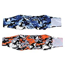 HAOCOO Camouflage Dog Diapers Wraps for Male Dogs (2 pack )- Washable Reusable Male Dog Belly Wrap (Camouflage orange+ Camouflage Blue) (X-large)