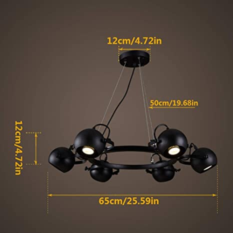 GONGFF Lámparas LED Lámparas Colgantes de época Proyector 6 ...