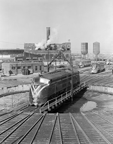 USA New York Jersey Central diesel engine on turntable in railroad yard Poster Print (18 x 24) (Railroad Stock Central York New)