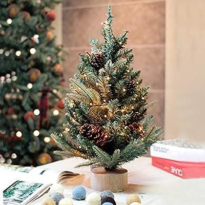 DLPY Mesa Arbol De Navidad,con Luces De Abeto Artificial Pino De Navidad Decoración En Soporte para Holiday Decoraciónación-Verde 90cm(35inch): Amazon.es: Hogar