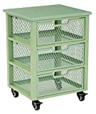 OSP Designs CLY03AS-6-osp Clayton 3 Drawer Rolling Cart In Metal Finish Frame, Green
