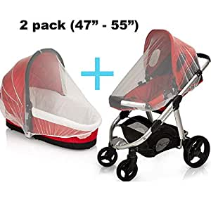 Baby Mosquito NET for Stroller and Car Seat - Carriers, Cover, Cradles, beds. Fits Most Pack n Plays, Net Cover for Cribs, Bassinets & Playpens Mosquito Repellent,Insect Netting, 2 Pack