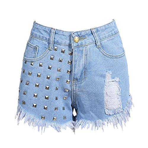 Pants Jeans Azzurro Vita Shorts Chiaro Pantaloncini Con Corti Denim Hole Rivetto Donna Alta Buco Hot Vintage C4qx4HOA