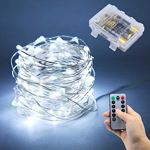 Lezoey Battery Fairy Lights 33Fft 100leds 8 Modes Waterproof Battery Powered Led Starry String Lights With Remote Control Indoor and Outdoor Xmas Party Home Decoration (White)