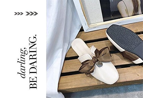 Slip Loafer On Mule Outdoor Shoes Backless Leather Beige Women's Flats Scuff Casual Slipper I8xwEqz
