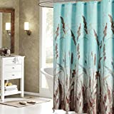 Vipsung Montana Beautiful Brown Wheat Plant Bathroom Shower Curtain - Teal Waterproof Polyester Fabric Deco 78.7x72in