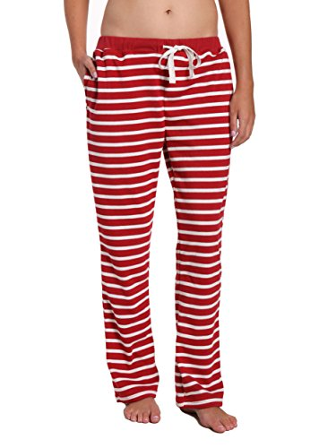 Noble Mount Womens Towel Brushed Sweatpants - Stripes Red White - X-Large