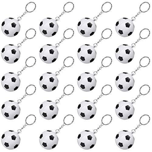 20 Pack White Soccer Keychains for Party Favors, Soccer Stress Ball, School Carnival Reward, Party Bag Gift Fillers (Soccer Keychains, 20 Pack) -