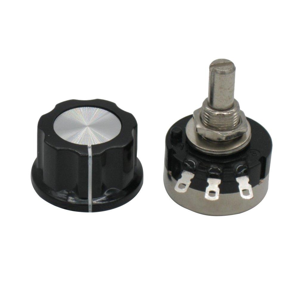 Taiss 2pcs RV24YN20S B502 5K ohm Carbon film potentiometer single-turn potentiometer + 2pcs A03 knob by Taiss (Image #3)
