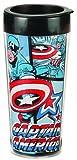 captain america glass cup - Vandor 26651 Marvel Captain America 16 oz Plastic Travel Mug, Red, White, and Blue