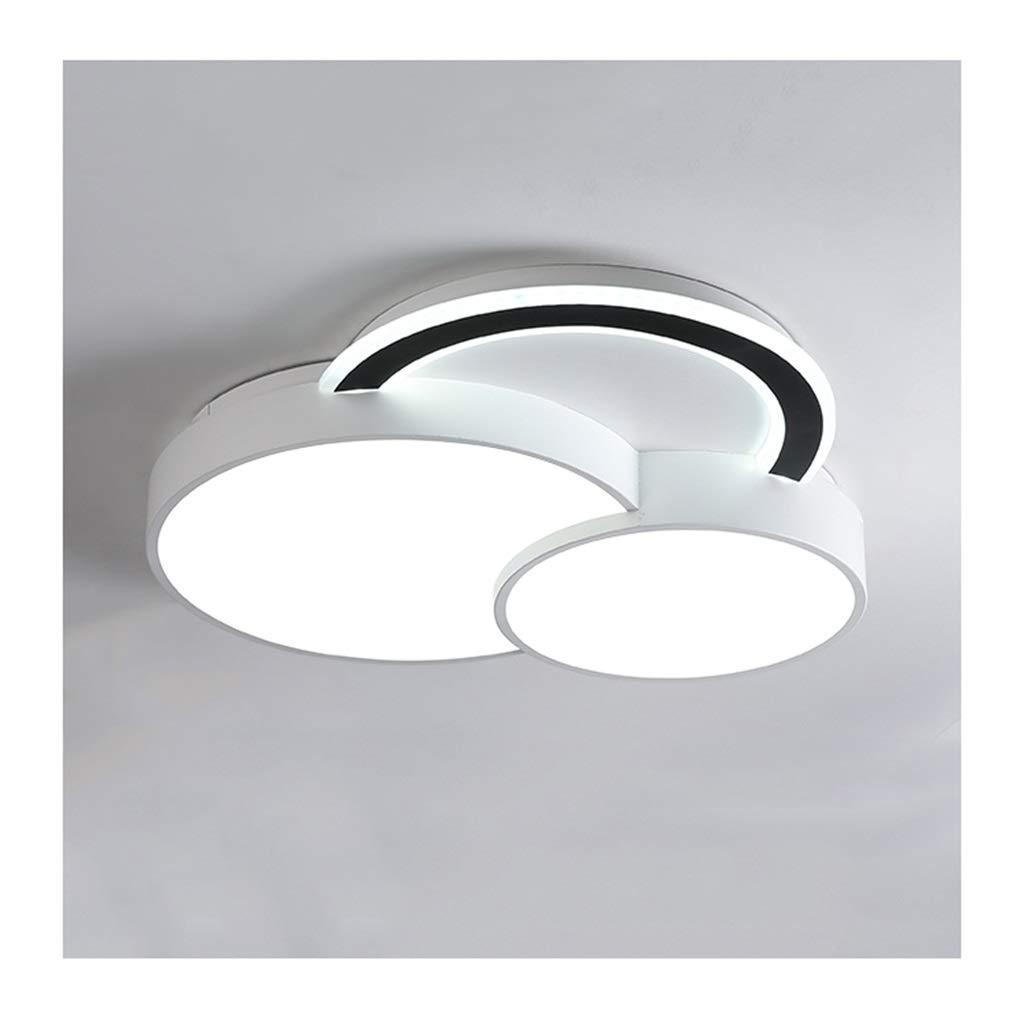 $天井灯 シーリングライト - モダンクリエイティブクリエイティブシーリングランプブラックホワイト、LED調光式アクリルアイロン、リビングルームの装飾ベッドルームスタディポーチ照明 [エネルギークラスA +] (Color : Three-color dimming, Size : 45cm) 45cm Three-color dimming B07SXBB5KJ