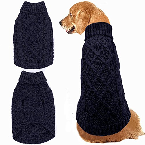 Mihachi Dog Sweater - Winter Coat Apparel Classic Cable Knit Clothes for Cold Winter,Dark Blue,L