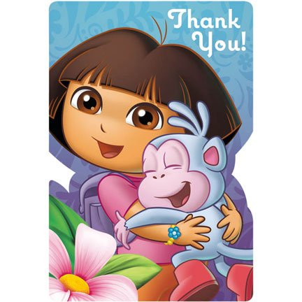 (amscan Colorful Dora's Flower Adventure Birthday Party Postcard Thank You Cards Supply (8 Pack), 4 1/4